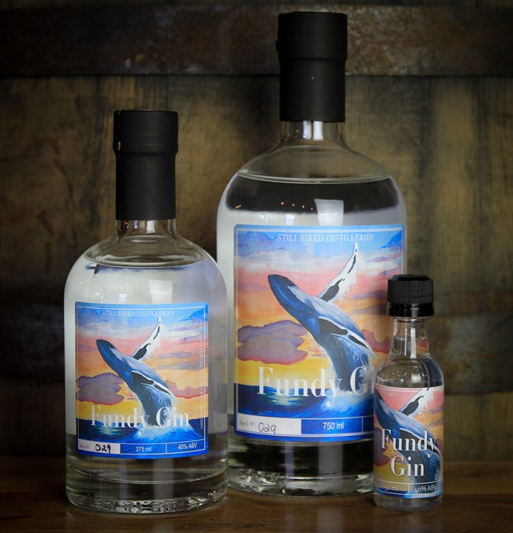 Kelp and Seaweed infused gins: Three differently sized bottles of Still Fired Distilleries' Fundy Gin