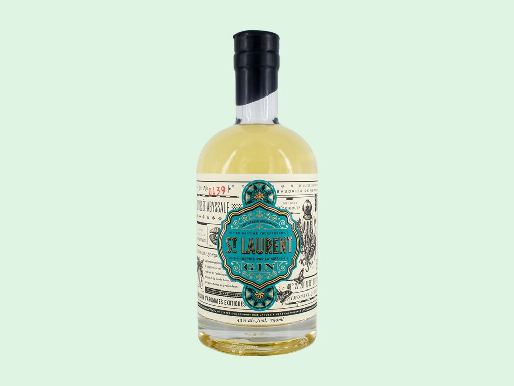 Kelp and Seaweed infused gins: St Laurent gin bottle on green background