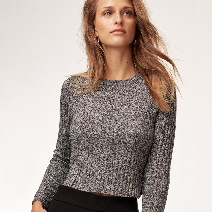 Salt and pepper cropped and ribbed sweater from Aritzia