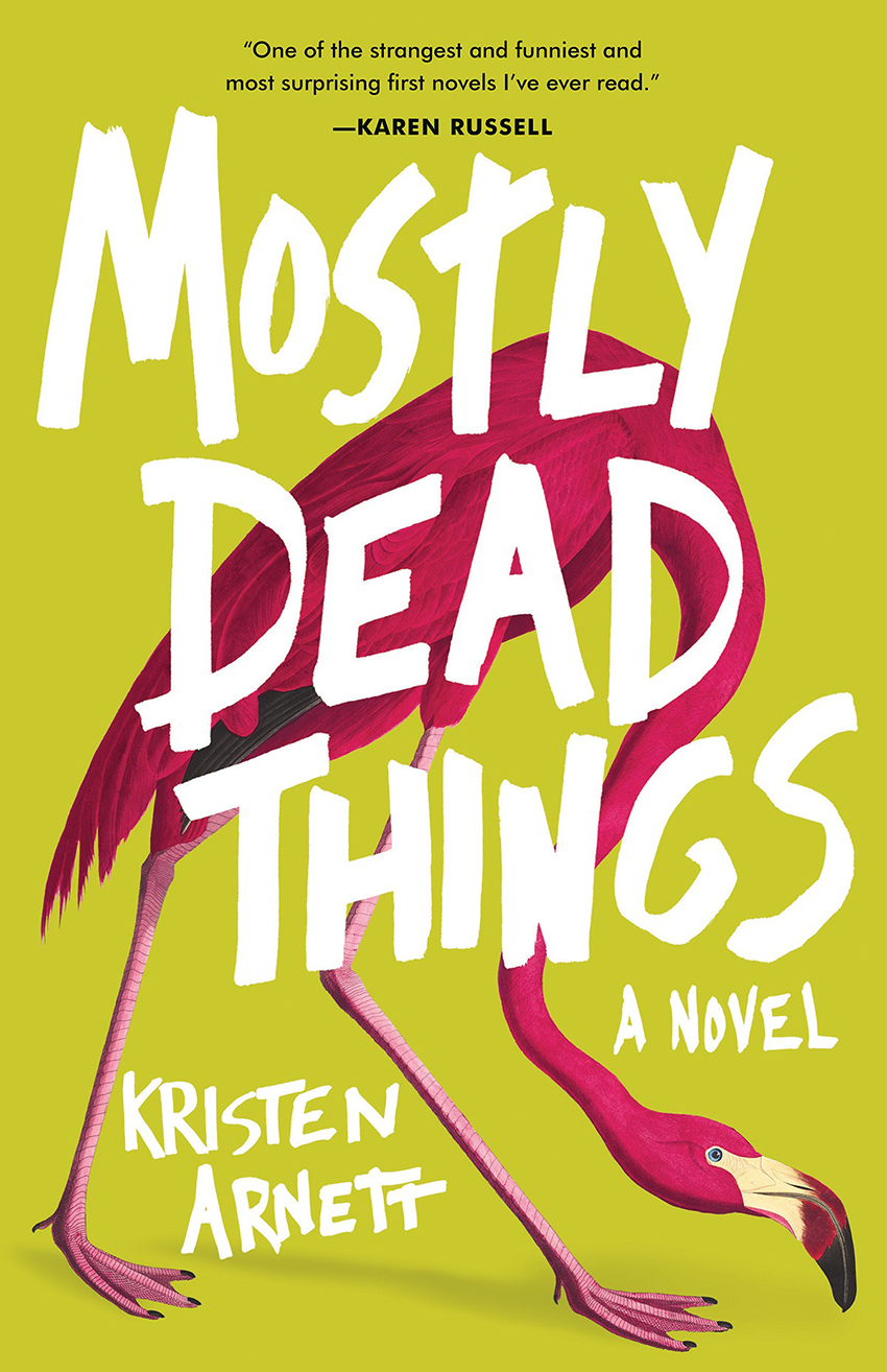 Best Books For Summer Reading 2019: Mostly Dead Things cover, flamingo on lime green cover