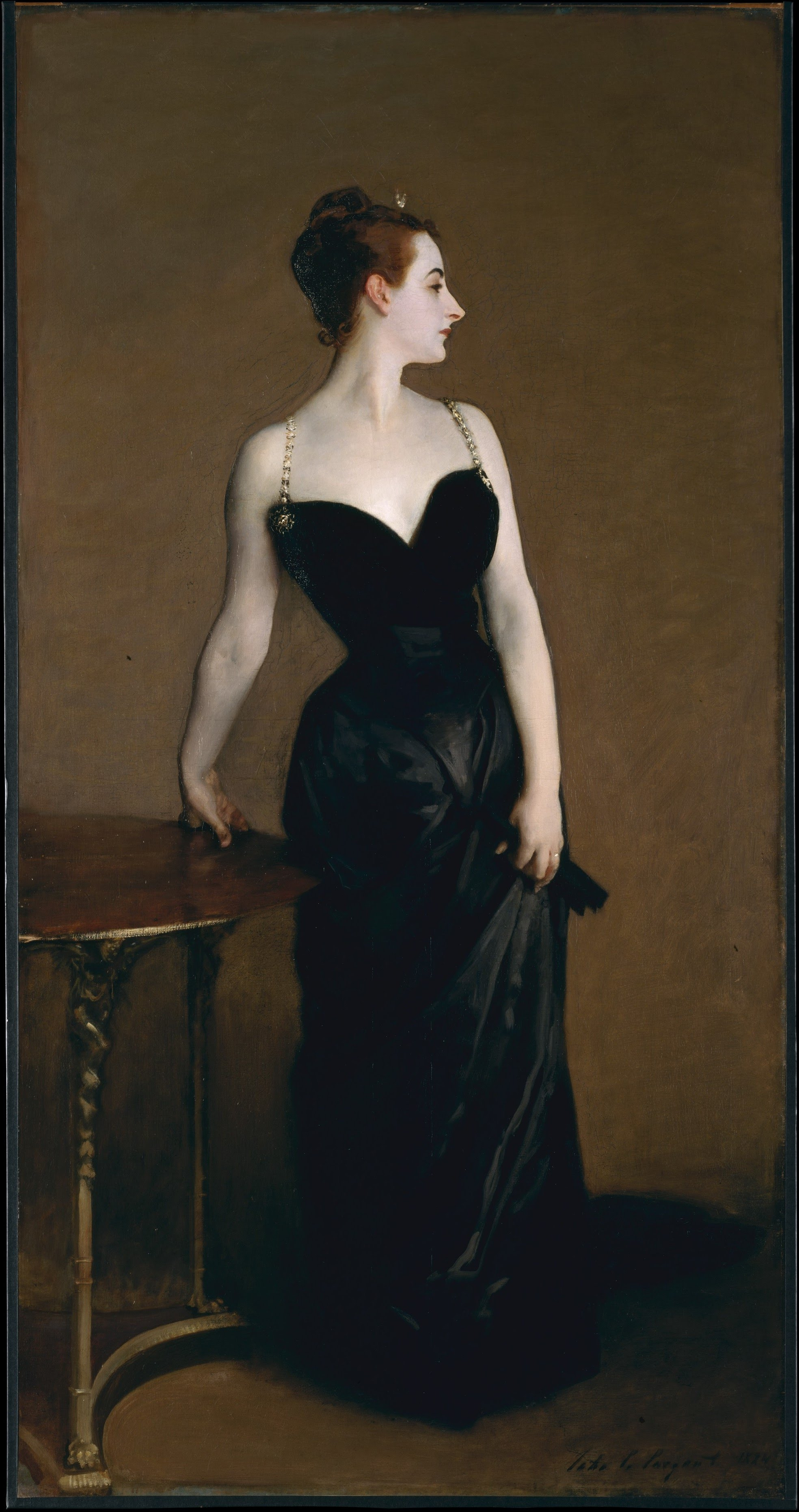 Painting by John Singer Sargent depicting a woman standing and wearing a black dress.