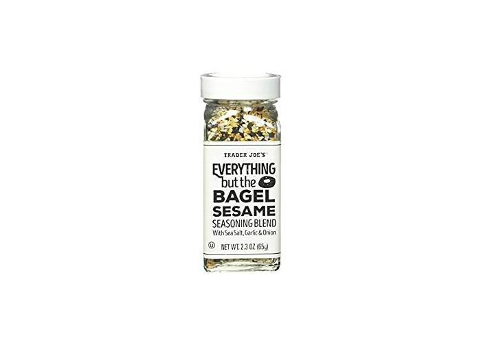 spice jar filled with poppy seeds, sesame seeds salt and garlic