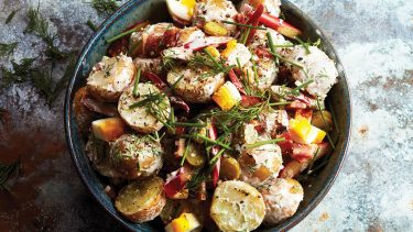Creamy rhubarb potato salad