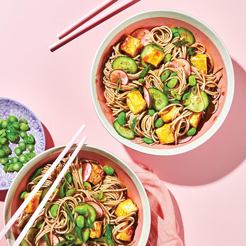 Crispy spicy tofu noodle bowl