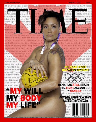 Waneek Horn-Miller poses naked with yellow waterpolo ball on TIME Canada cover in front of maple leaf image