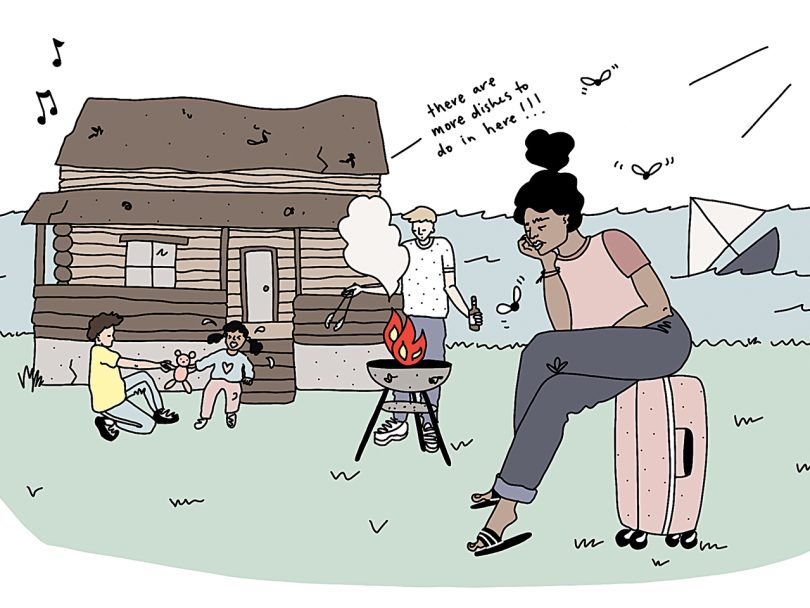 Illustration shows a woman sitting on a suitcase looking glum while a BBW is on fire in the background and children fight over a toy