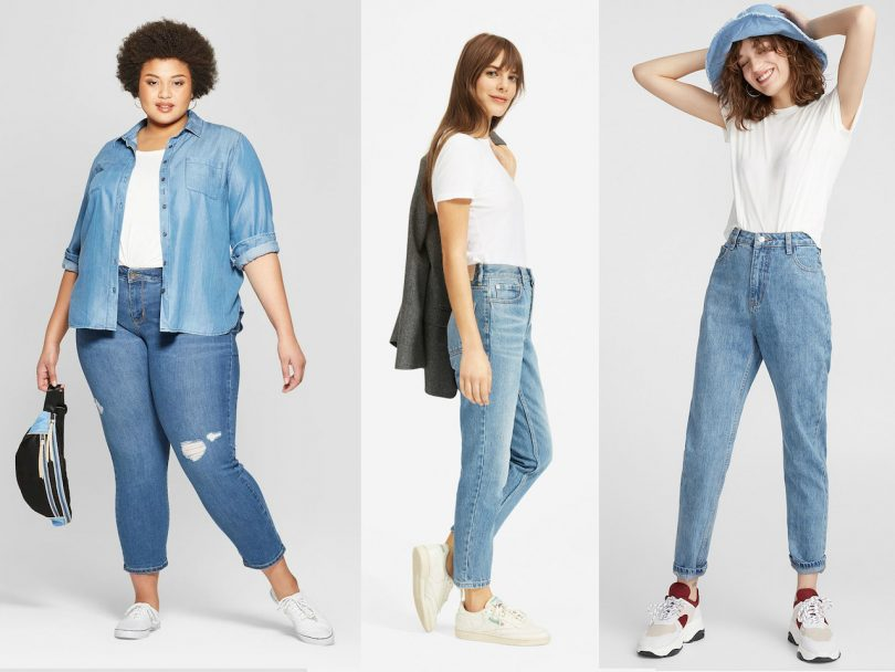 Mom jeans-feature image of three women wearing high-waisted light-wash blue jeans