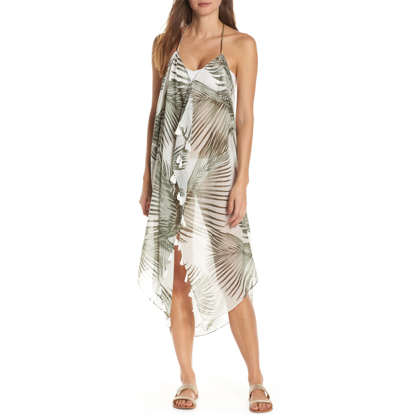 Model in palm printed light cover up from Nordstrom: on sale vacation ready beach essentials