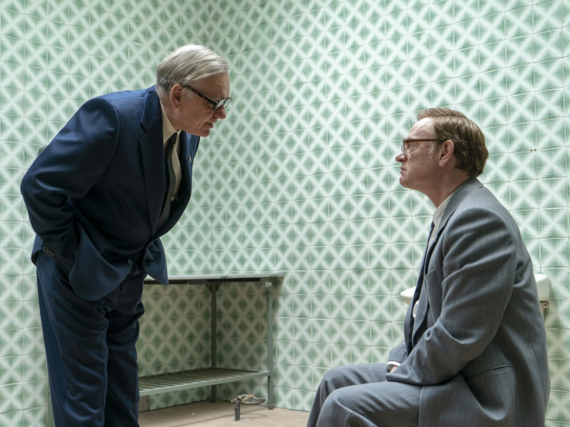 HBO Chernobyl scene: Man talks down to Jared Harris as scientist Valery Legaso in room with green tiles