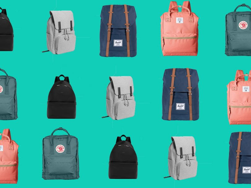 Five of the popular backpacks featured in this article against a light green background.