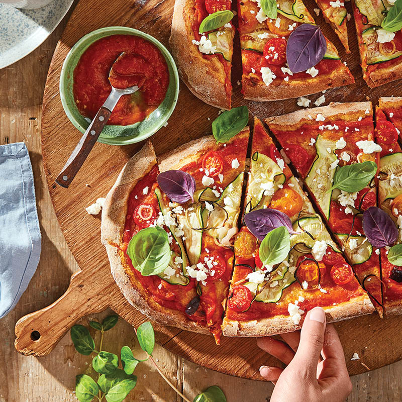 Whole Wheat Mediterranean Pizza with Ajvar