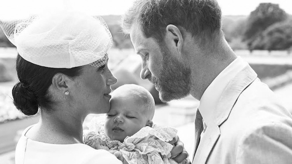 Meghan Markle and Prince Harry with Archie at his royal christening