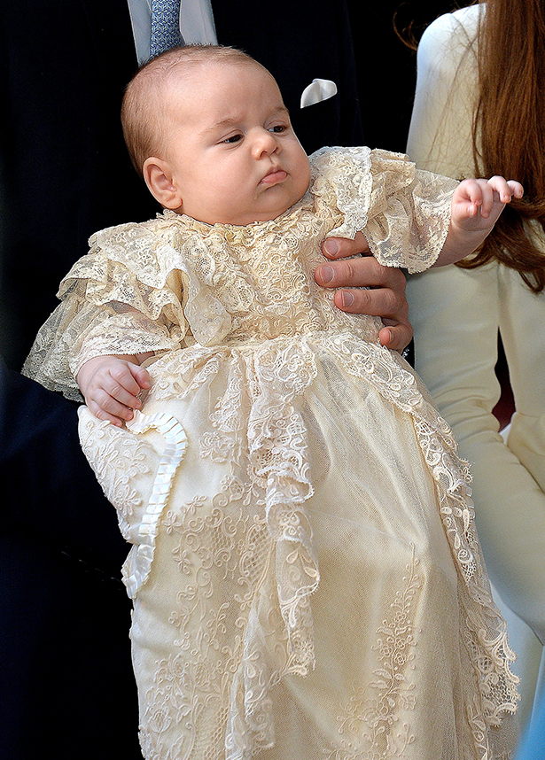 baby archie christening-prince george in his long lace christening