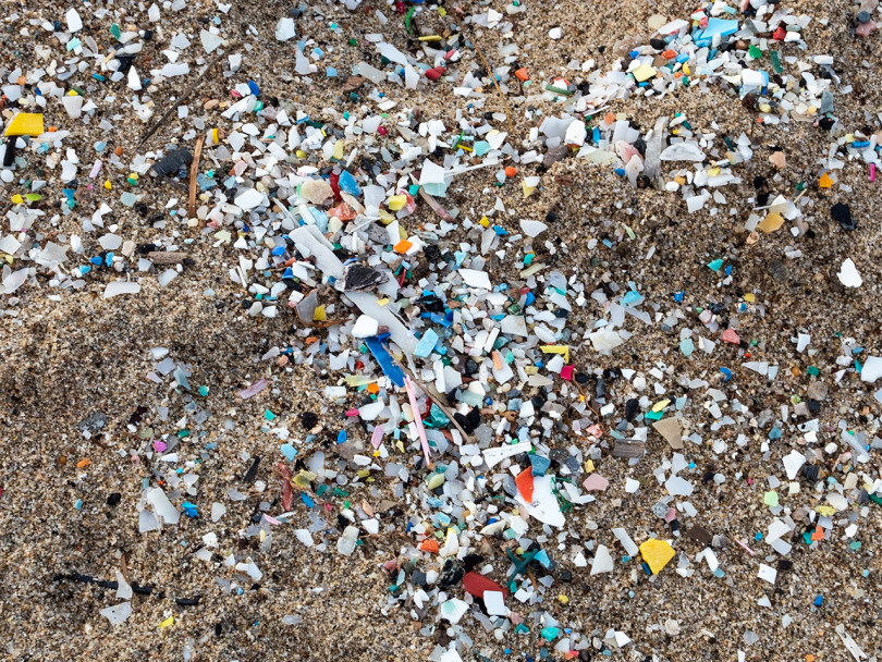 Everything you should know about microplastics: Detail of microplastics along the Schiavonea beach, transported by the Ionian sea during a sea storm