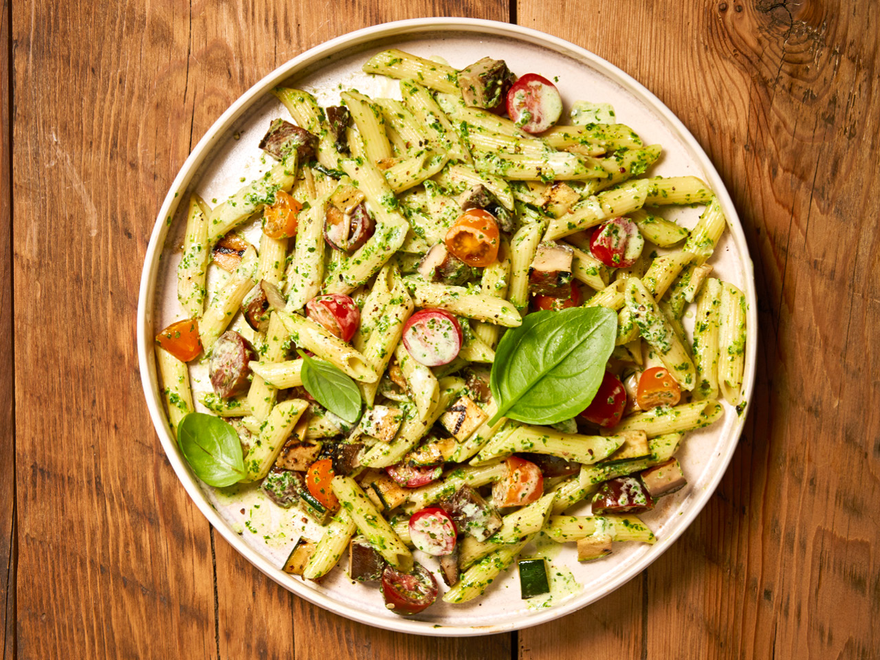 Mushroom, Zucchini & Tomato Pasta Salad