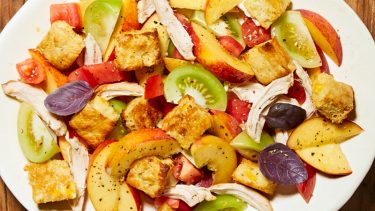 Cornbread Panzanella Salad with Peaches, Chicken & Tomatoes