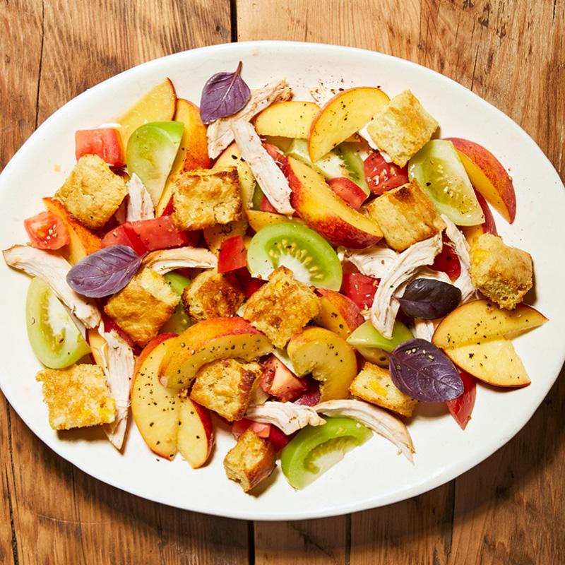 Cornbread Panzanella Salad with Peaches, Chicken & Tomatoes