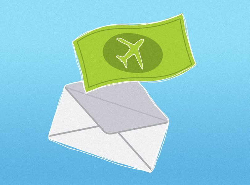 illustration of a white envelope on a blue background with a green dollar bill coming out of the envelope
