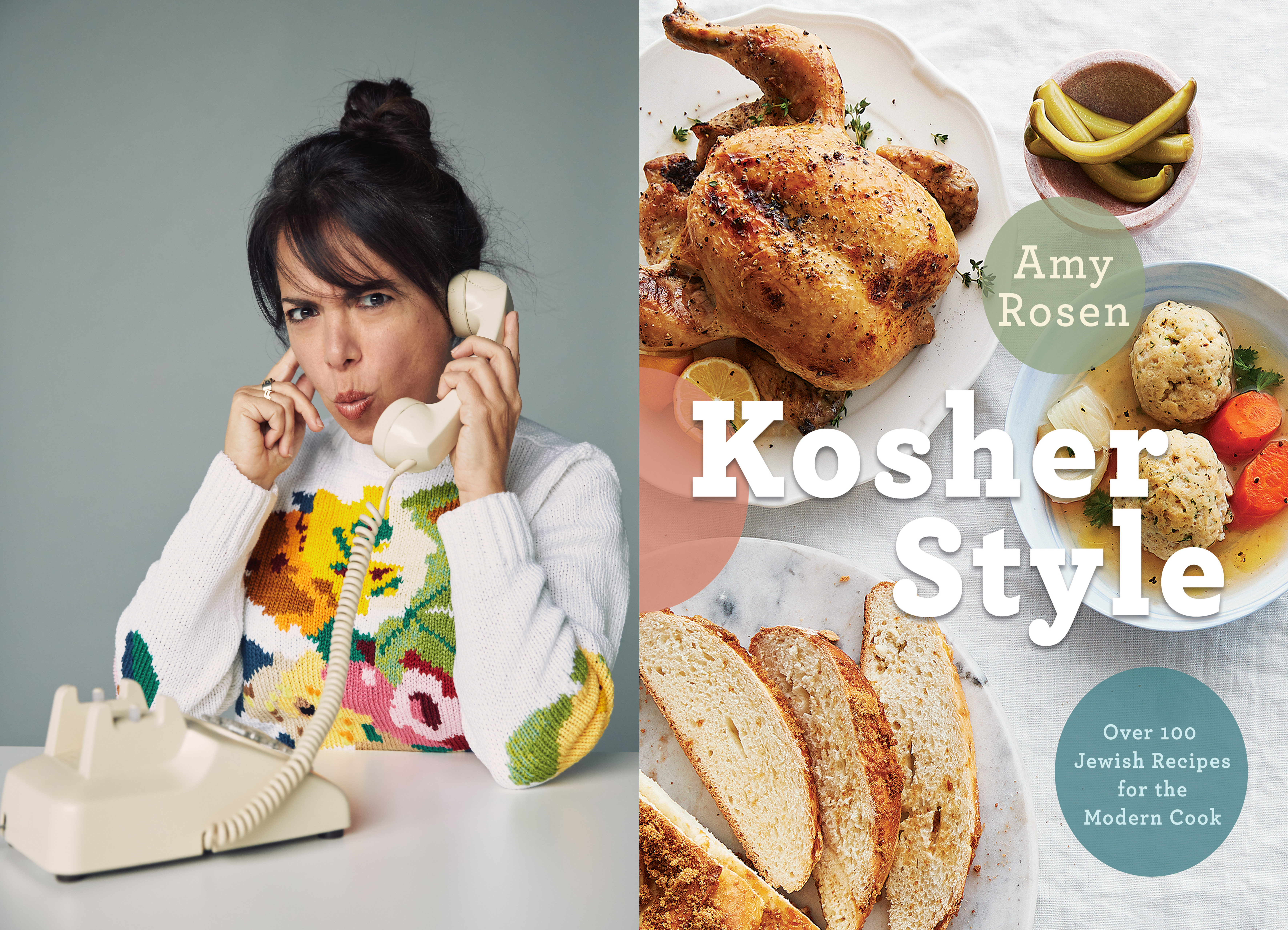 Photo of author Amy Rosen against a grey backdrop talking into a landline. On the other half of the page is the cover for her book Kosher Style.