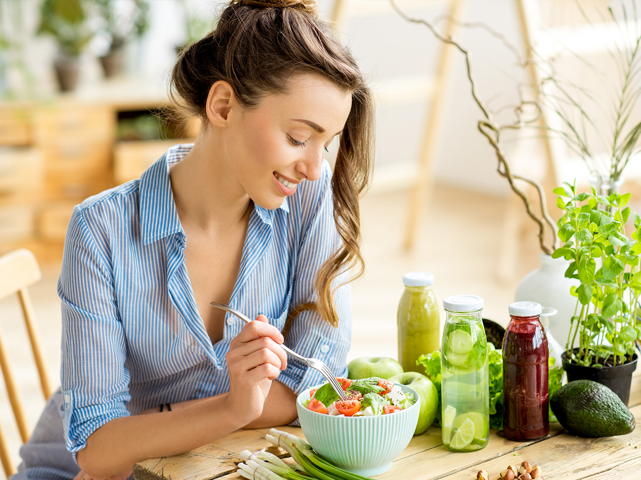 Girl eating gut health conscious foods