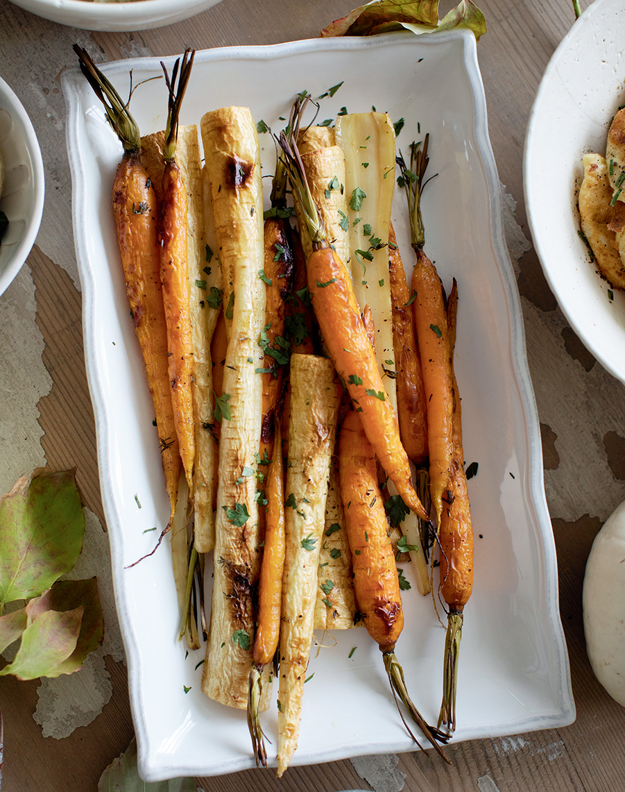 Photo of maple thyme roasted parsnips and carrots