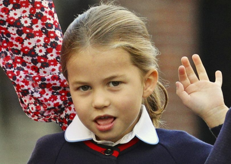 Princess Charlotte first day of school close-up of her face with hair in a ponytail