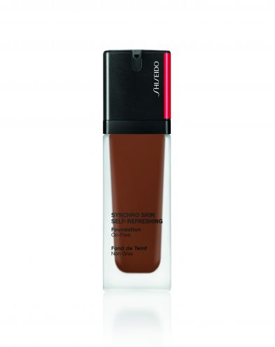 A dark shade of the Shiseido Synchro-Skin foundation shot on white background