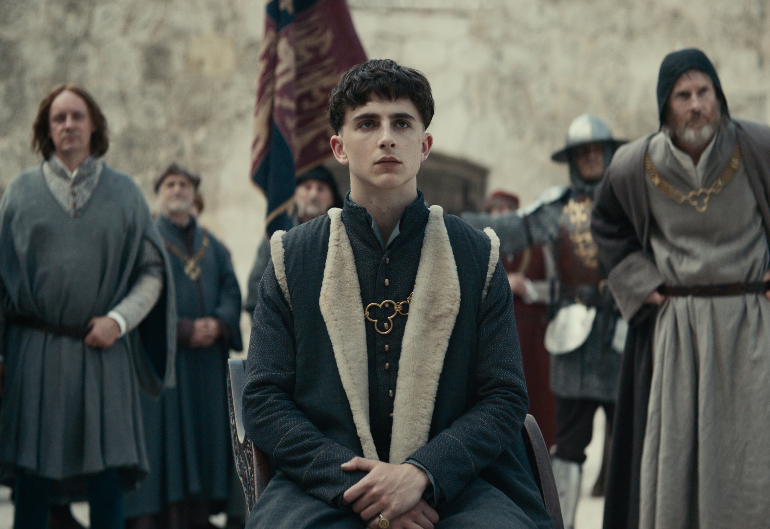 Actor Timothée Chalamet is seen sporting a bowl cut for his role as Henry V in Netflix drama The King