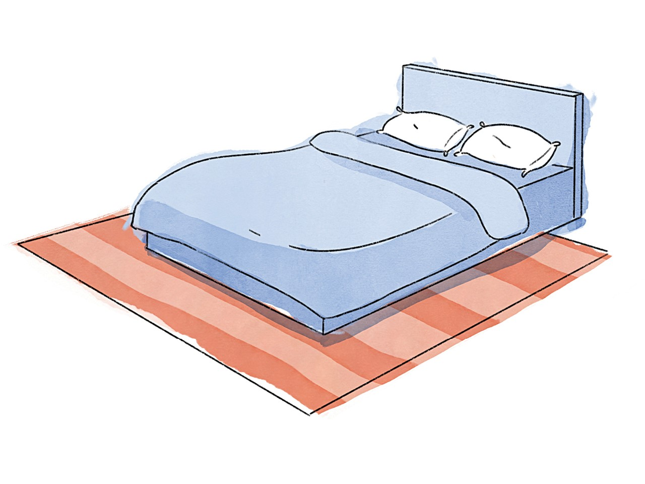 rug size buying guide illustration of a blue double bed with white pillows on a peach striped rug