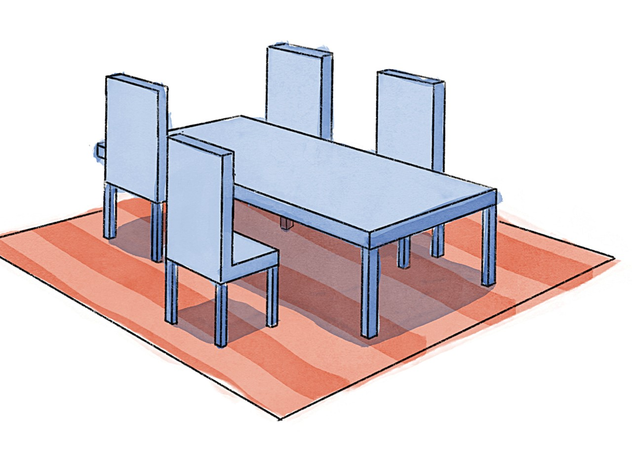 rug size buying guide illustration of a blue table with four blue chairs on a peach striped rug