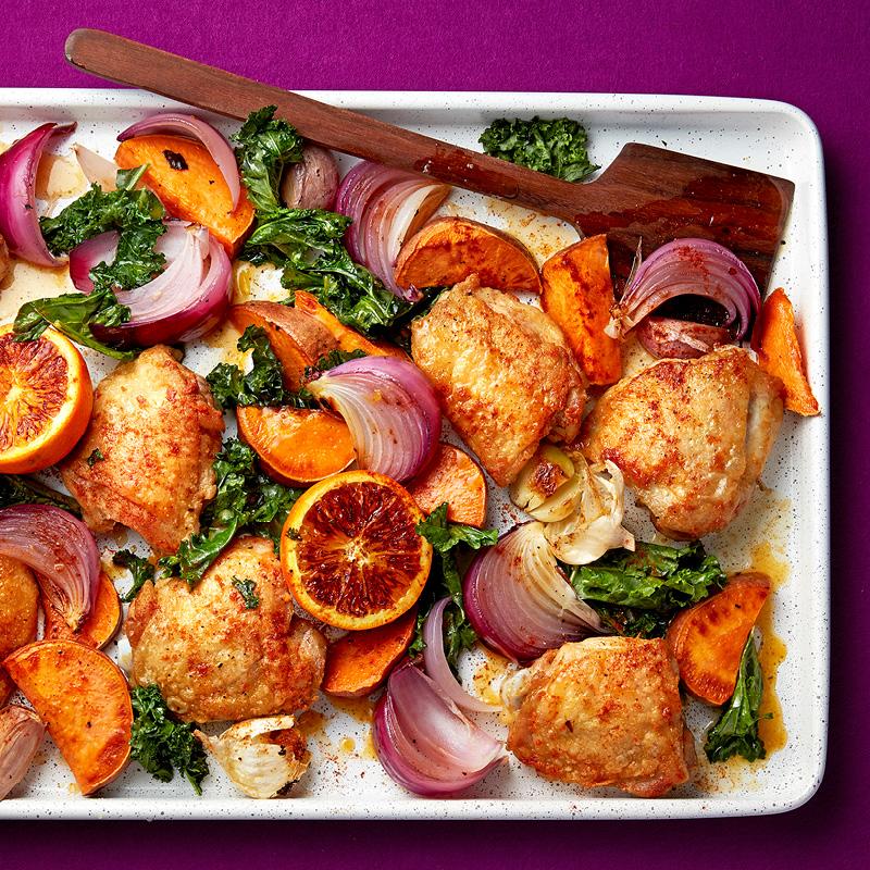 Sheet Pan Orange Chicken with Sweet Potato