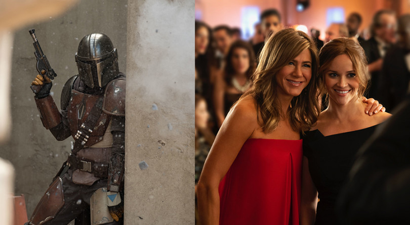 A still from The Mandalorian and The Morning Show, side by side.