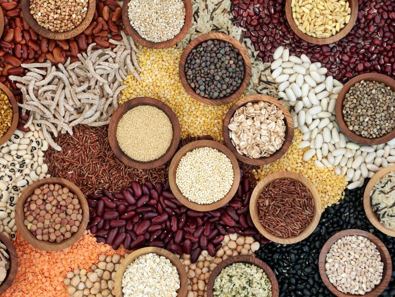 Dried pulses, grains, seeds and cereals.