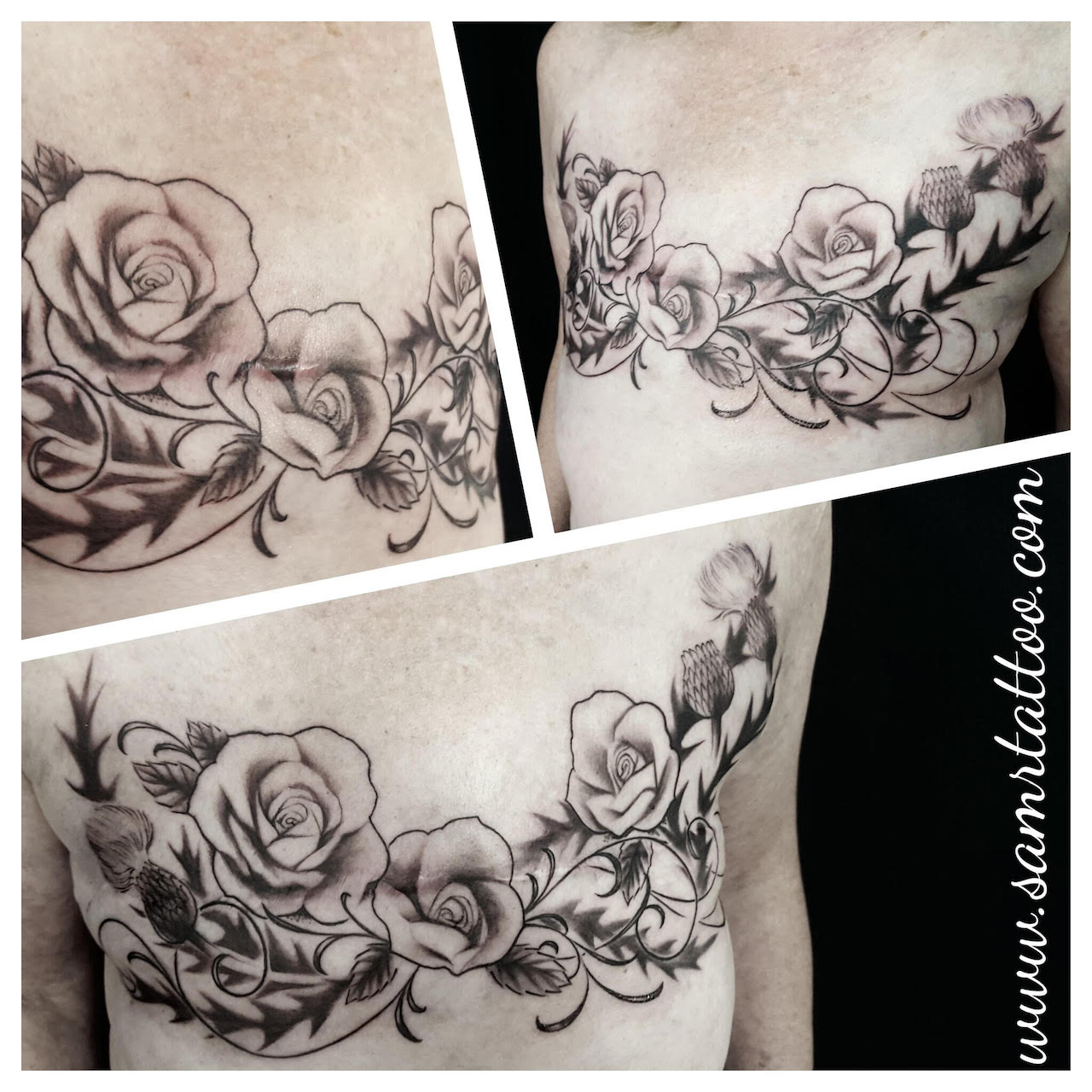 three different photos show various details of a black and grey tattoo on a woman's chest area covering mastectomy scars