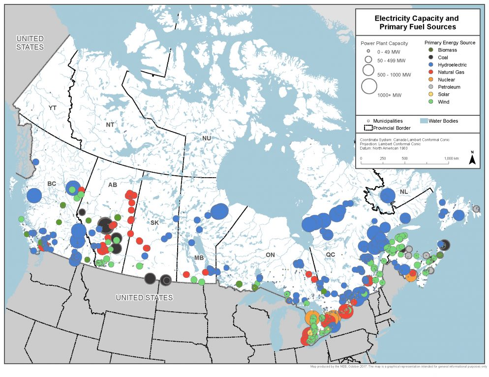 A map of Canada's electricity capacity and primary fuel sources