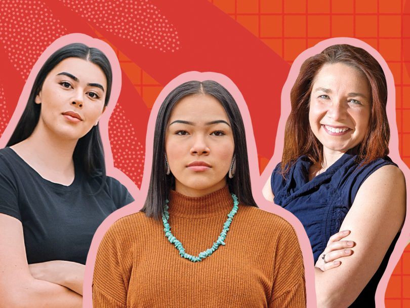 Image of Lauren Chan, Autumn Peltier, and Katharine Hayhoe against a pink background)
