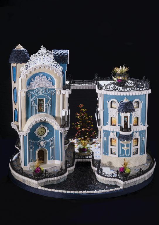 A Victorian-style gingerbread house created by Beatriz Muller