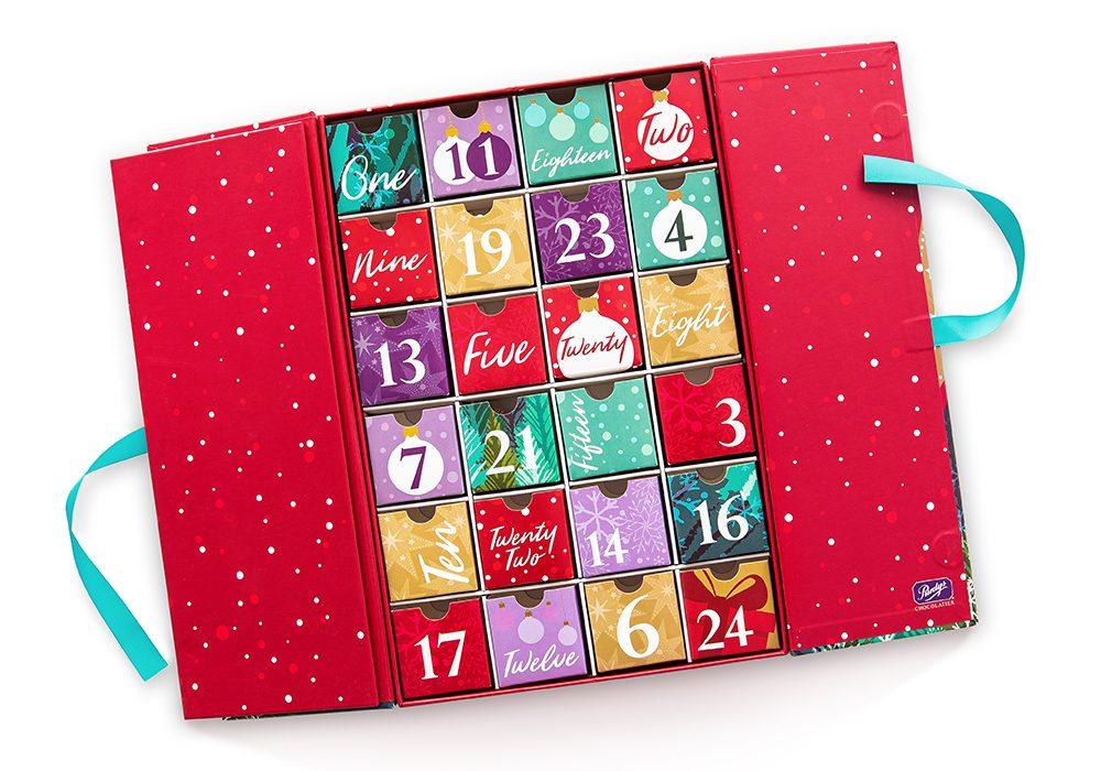 A Purdys chocolate advent calendar on white background to illustrate a round-up of best advent calendars of 2019.