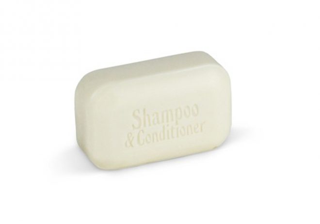 A photo on white background of The Soap Works shampoo and conditioner bar to illustrate an article about best shampoo bars