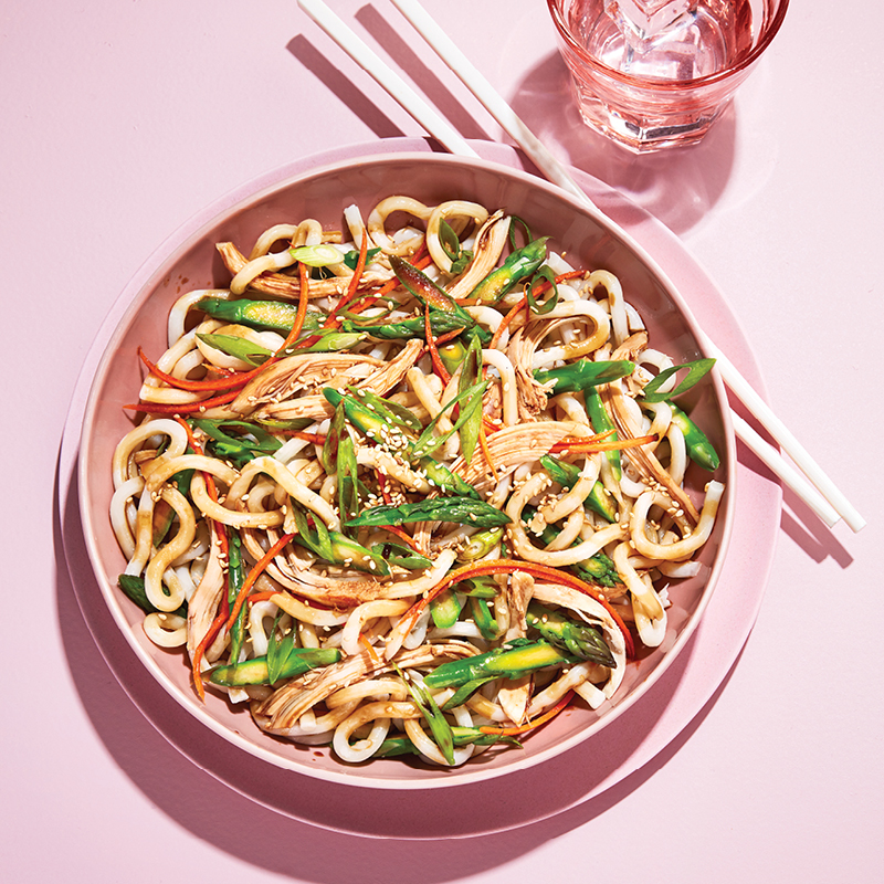 Chicken, asparagus and udon noodle salad