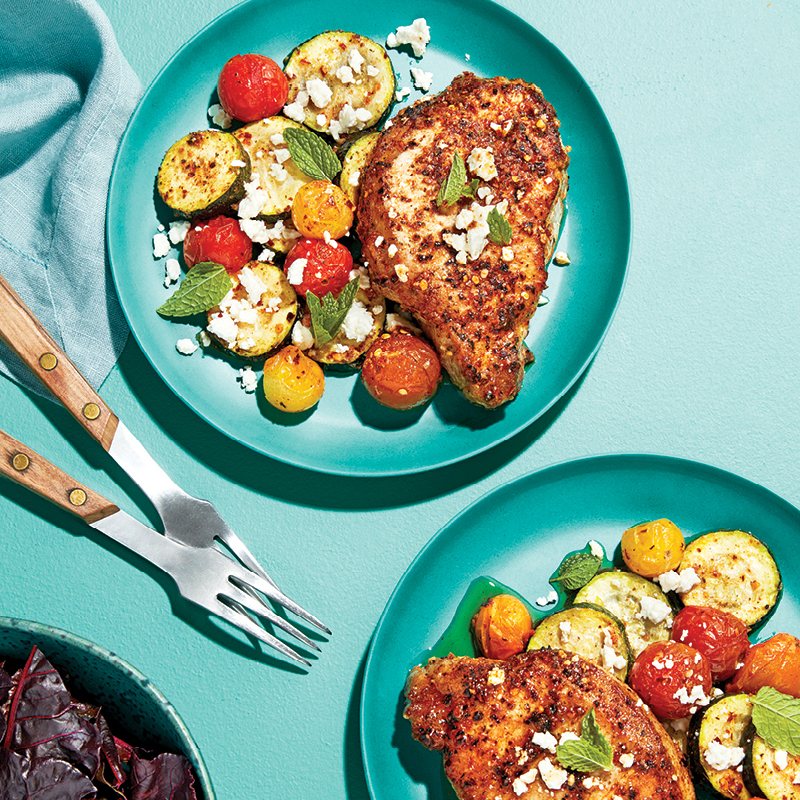 Sheet pan harissa pork chops
