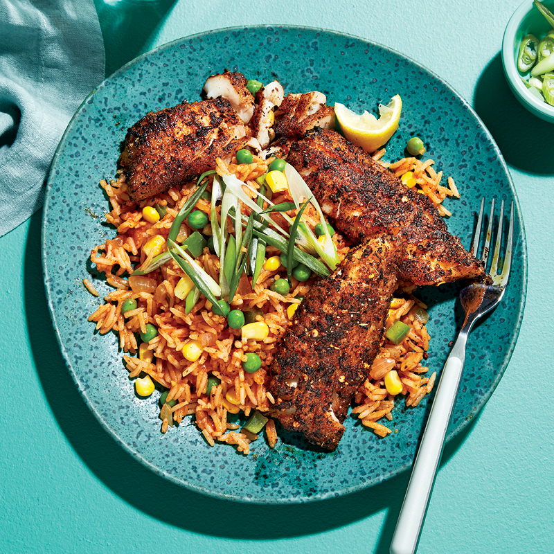 Blackened red snapper with spicy Cajun rice