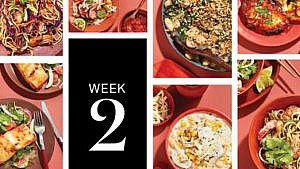 Seven different easy meals featured in tiled rectangles.