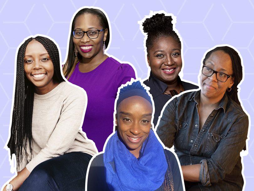 black women in Canada-5 women on a purple background