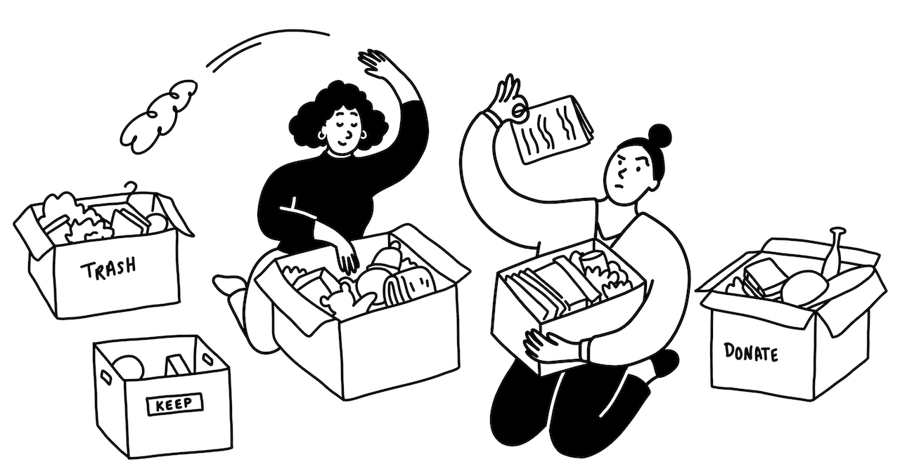 illustration of two women sorting items into three boxes labelled 'trash' 'keep' and 'donate'