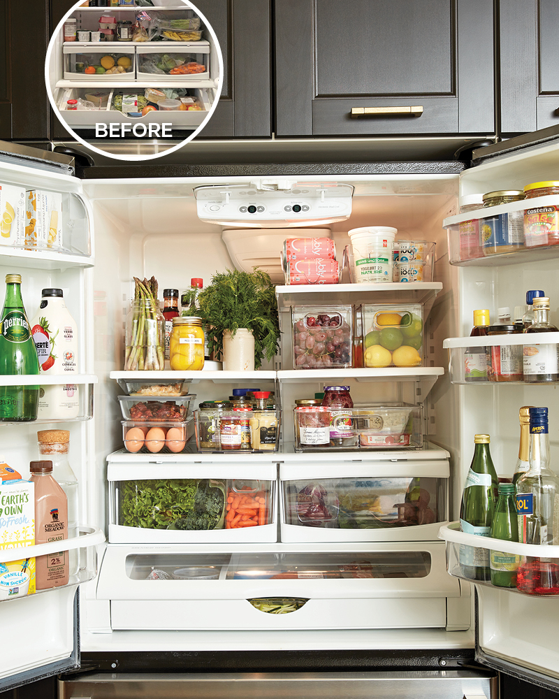inside of a double-door fridge that is full of very organized food and condiments
