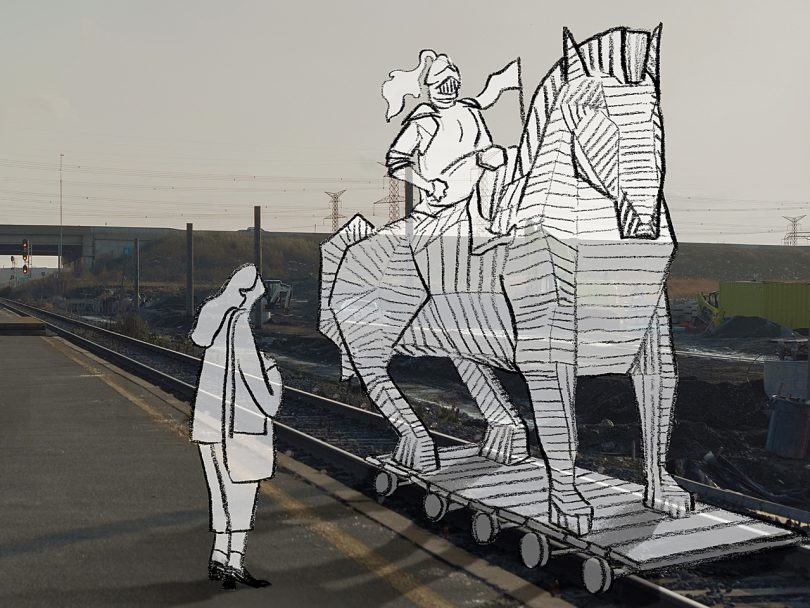 illustration shows a knight on horseback on train tracks with a woman standing beside them