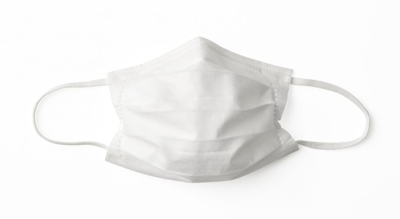 Overhead shot of protective face mask, isolated on white with clipping path.