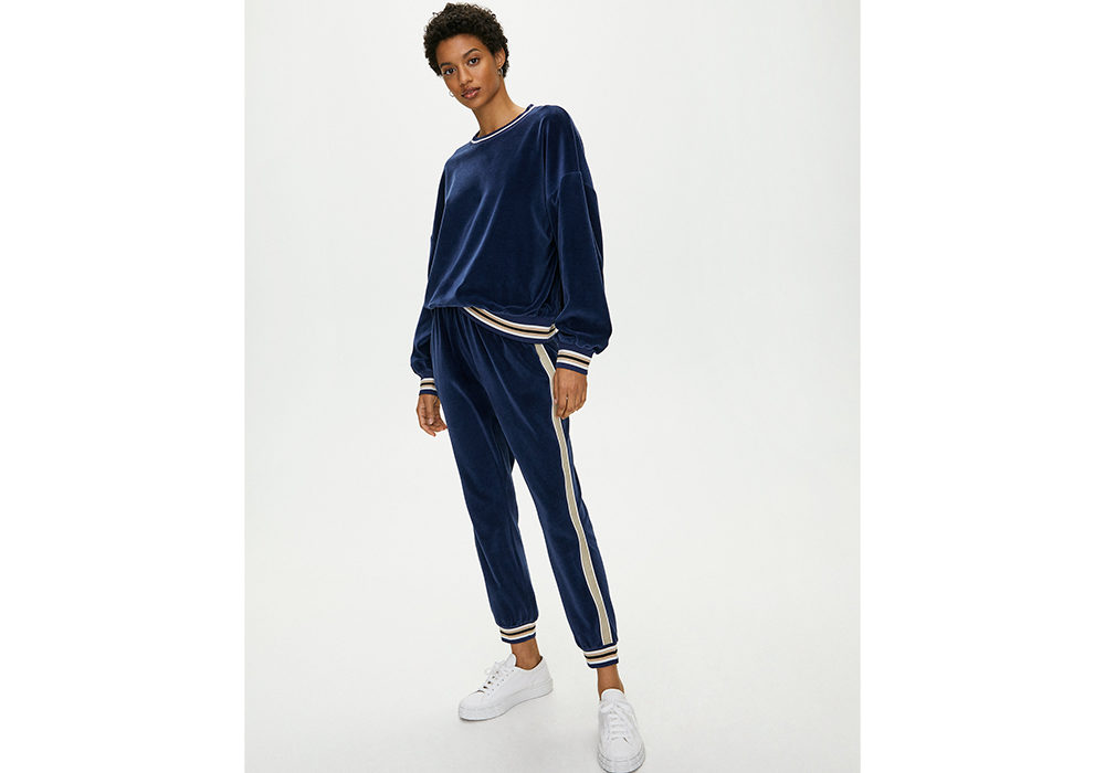 The Group by Babaton velour stripped sweatsuit