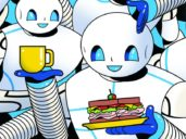 illustration of round-headed white robots holding up cups of tea and sandwiches